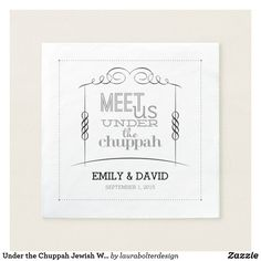 Shop Under the Chuppah Jewish Wedding Napkins created by laurabolterdesign. Wedding Chuppah, Wedding Typography, Reception Party, Save The Date Invitations, Typographic Design, Wedding Napkins, Signature Cocktail, Cocktail Napkins, Just Married