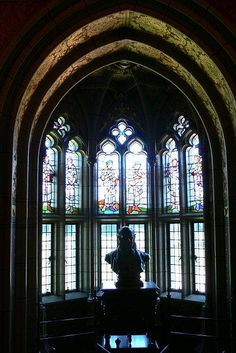 Cardiff Castle Library Bay window....This would be on the foyer landing and the sculpture would be an original Casey Eskridge....my cousin....an amazing sculptor.