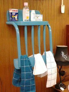 Re-purposed chair seat makes a unique towel rack.