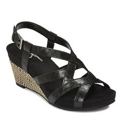A2 by Aerosoles Starlight Wedge Sandals at kohls $56.  possible black sandal for when there's some walking to be done.  no that cool.