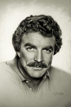 Tom Selleck - drawing on paper