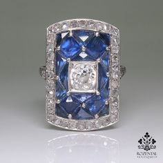 Antique Art Deco Platinum 1.75ctw. Diamond & Sapphire Ring – Rozental Antiques