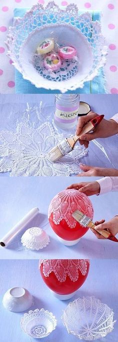 """DIY Lacy Napkin Charming Vase DIY Projects I have an idea for you today like always."", ""DIY Lace Bowls diy craft crafts craft ideas easy crafts diy i Easy Diy Crafts, Creative Crafts, Crafts To Make, Crafts For Kids, Arts And Crafts, Creative Ideas, Fun Diy, Diy Projects To Try, Craft Projects"