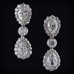 Double pear shaped diamond drop earrings - late 1800's