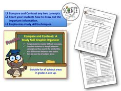 Science Stuff Blog:  A free compare and contrast graphic organizer.  Can be used for any subject and most grade levels.