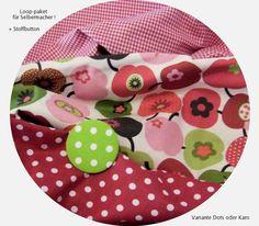 *Stoffpaket♥Loop♥f.Selbermacher Apfel rot + gr.Stoff-Button, Variantenauswahl*    für Selbermacher- hier gibt es das Stoffpaket!  *bitte in Kaufnac...