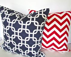 THROW PILLOWS SET of 2 16x16  Decorative Throw Pillows Blue Red 16 x 16 Nautical  Throw Pillow Covers  Fabric Front & Back. $29.95, via Etsy.