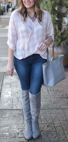 blush pink plaid top outfit - blush pink top with dark wash skinny jeans and gray over the knee boots. Click through for more casual outfits and to shop this look! | www.bylaurenm.com