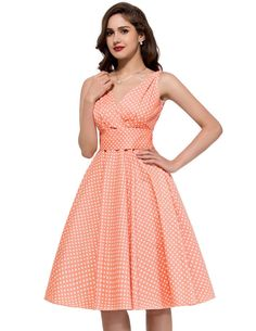 PAUL JONES Womens Polka Dots Floral Pattern Vintage Party Dress 12 Colors at Amazon Women's Clothing store: