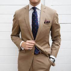 Today's Attire. Accessories from @otaa.australia Check out www.otaa.com #menstyle #menswear #menwithclass #menstyle #mensfashion #mensfashionpost #mnswr #mnswrmagazine #menslook #mensfashionreview #ootd #class #elegance #dandy #gentleman #sartorial... Tan Suit Men, Suit And Tie, Cool Outfits For Men, Stylish Mens Outfits, Mens Fashion Suits, Mens Suits, Olive Green Suit, Men's Business Outfits, Brown Suits