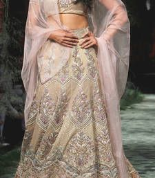 Buy Cream with Embroidery heavy Jari and thread work Chitrangadas Brocket lehenga bollywood-lehenga online