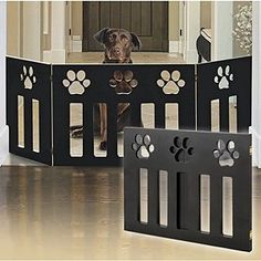 Wood Paw Print DÃÂcor Pet Gate Blac