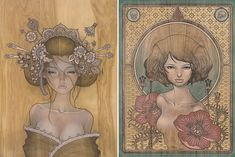 Audrey Kawasaki Influenced by Japanese manga comics and Art Nouveau, Los Angeles based artist Audrey Kawasaki is known for her precise technical style. Her mysterious ladies, each painted onto wood panels with oil paint and graphite, captivate with their seductive eyes, flowing hair, and ghost like features.