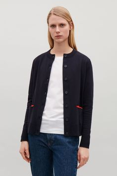 Cardigan with front pockets - Navy - New - COS GB Navy Cardigan, Knitwear, Women Wear, Turtle Neck, Cos, Denim, Sweaters, Cardigans, My Style