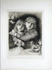 """Babes in the Wood"" drawn & etched Herbert von Herkomer 1881"