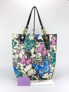 12731ae9d6 COACH 13415 Parker Bandana Jewel Butterfly Extra Large XL Tote Bag Purse  Rare