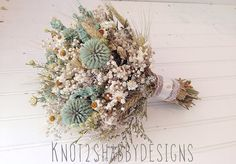 Mint wildflower bridal bouquet  by Knot2ShabbyDesigns on Etsy