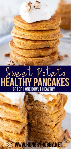 Sweet Potato Pancakes Vegan, Sweet Potato Protein, Sweet Potato Flour, Sweet Potato Recipes Healthy, Oat Pancakes, Sweet Potato Breakfast, Baby Food Recipes, Cooking Recipes, Sweet Potato Brownies