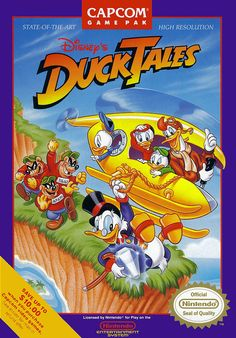 "Box art for Capcom's classic platformer ""Duck Tales,"" based on the Disney cartoon franchise, released in 1989 for the Nintendo Entertainment System"