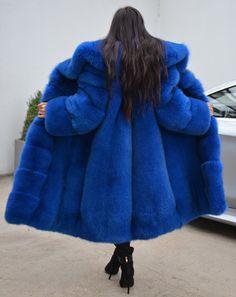 35ad02f9 New 2018 blue royal fox fur coat class- chinchilla sable mink silver long  jacket