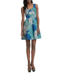 Brands   Dresses   Floral Burst Print Pleated A-Line Dress   Lord and Taylor
