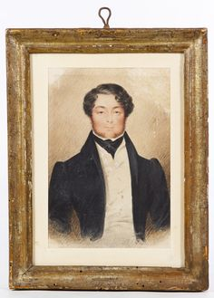 Lot 335: Early 19th Century Portrait Watercolor on Paper; Undated, unsigned, depicting a well dressed young man