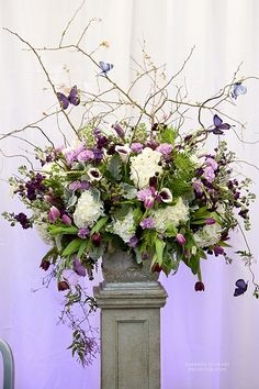 LOVE but cannot affort - Wild and airy purple and white flower arrangement with…