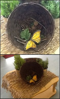 We used these hanging baskets to make small world pods. On this occasion, we filled them with bugs! #eyfs #smallworld