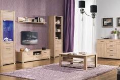 """NICOL BOGFRAN Living room. It is represented only colour """"sanremo oak"""". The furniture provides a possibility of making arrangements from individual pieces available in many sizes. You can match them with every type of interior. The whole structures are strong and relatively simple. This set is for people who looking for tasteful and elegant furniture. Polish Bogfran Modern Furniture Store in London, United Kingdom #furniture #polish #bogfran #livingroom"""