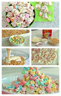 A treat for all the wannabe Leprechauns in your life this St Patricks Day! Chex and Lucky Charms make up this fun and festive Chex Party Mix :) Lucky Charms Treats, Lucky Charms Leprechaun, Snacks To Make, Fun Snacks For Kids, Kids Meals, Preschool Snacks, Birthday Treats, Easter Treats, Birthday Parties