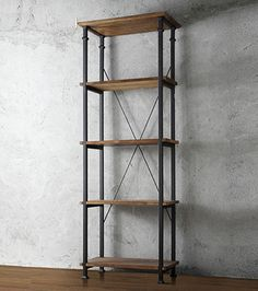 Tall Rustic Bookcase Bookshelf Modern Storage Furniture Pine Wood 4 Shelves New Homevance Derry Narrow