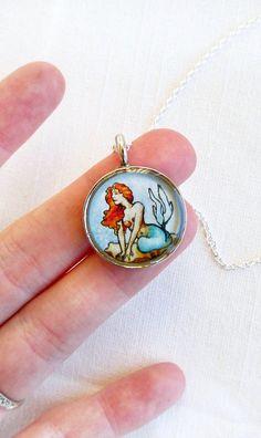 Little Mermaid nautical art pendant necklace  by Sarah-Lambert Cook, $ 25.00