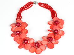 Watermelon Red Color Crystal and Shell Flower Party Necklace