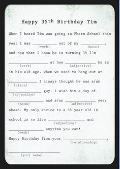 It is a photo of Massif Happy Birthday Mad Libs Printable