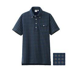 UNIQLO x Michael Bastian MEN MB Washed Short Sleeve Polo Shirt - Navy Print