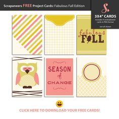 Free Fabulous Fall Journal Pocket Cards from Scrapaneers {on Facebook}