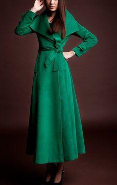 Camel/Green / Red / Black wool Jacket Women dress Autumn Winter Spring--CO018