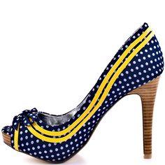Navy And Yellow Heels
