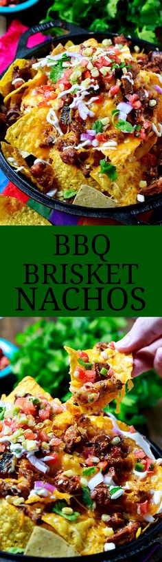 BBQ Brisket Nachos make the perfect game day treat and are great for using up leftover brisket. Covered in brisket, cheese, corn and sour cream. Grilling Recipes, Pork Recipes, Mexican Food Recipes, Cooking Recipes, Healthy Recipes, Nacho Recipes, Recipies, Bbq Brisket, Bbq Pork
