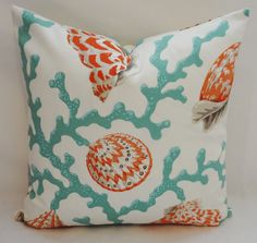 OUTDOOR Turquoise Coral Shell Orange Pillow Cushion Covers Coral Porch Pillows 18x18. $18.00, via Etsy.