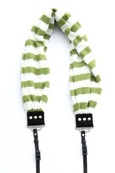 Green Stripe Scarf Camera Strap