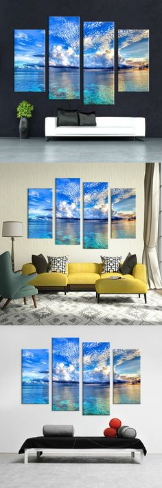 Canvas print art 4 Panel HD Printed oil painting Outer Space Wall art Pictures For Living Room Modern Home Decor Canvas Painting $16.5