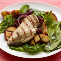 Grilled Chicken & Peaches Salad #recipes