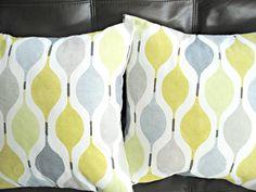 Decorative pillows spring light green mustard yellow gray geometric shapes design cushion shams UK designer fabric  Two 16 inch