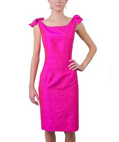 Pink Silk Shoulder Tie Dress