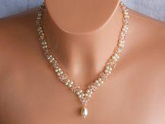 Brautschmuck - Swarovski Kristall Braut Halskette Perle Braut Ha - ein Designerstück von akcrystalbead bei DaWanda