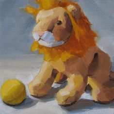 """Little Lion and Ball"" - Original Fine Art for Sale - © Robin Rosenthal"