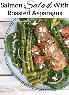 This crispy, colorful salmon and roasted asparagus salad is bursting with flavor and exploding with nutrition – including 7 grams of fiber and 31 grams of protein! #Salmon #Fish #PescatarainRecipes #Asparagus #Salads Fish Recipes, Seafood Recipes, Salad Recipes, Dinner Recipes, Healthy Food Options, Healthy Choices, Healthy Recipes, Asparagus Salad, Salmon Salad