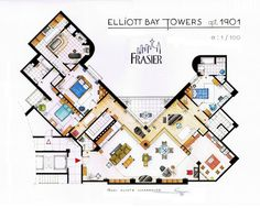 Floorplan of Frasier's apartment.