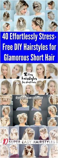 40 Effortlessly Stress-Free DIY Hairstyles for Glamorous Short Hair - Half up styles, faux braided, easy braids and quick hairstyles! Video tutorial for each, pin now use later! #hair #hairstyles #shorthair via @vanessacrafting
